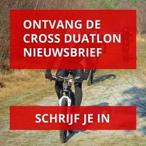 Crossduathlon Ameland - Schrijf je in voor de nieuwsbrief - Mountainbikers fietsen door de winterse Amelandse bossen